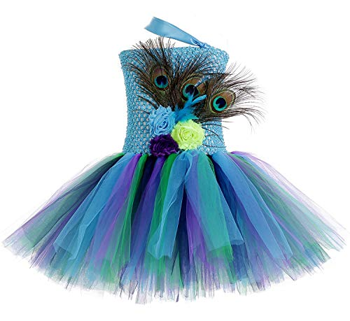 Tutu Dreams Peacock Costume for Baby Girls Teal Aqua Tutus (Peacock, Small)]()