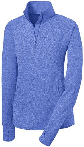 Joe's USA(tm) Ladies Moisture Wicking Stretch 1/2-Zip Pullover Sweatshirt RoyalHeath-L (1/2 Zip Fleece Pullover)