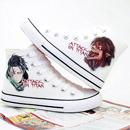 Attack on Titan Shingeki No Kyojin Levi Eren Shoes Canvas Shoes Sneakers White kmJQjCH
