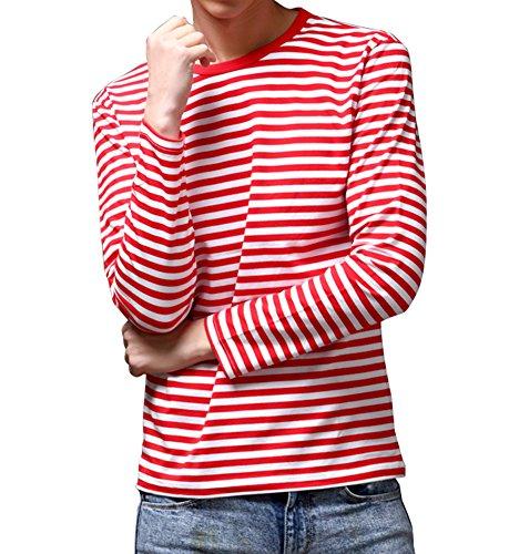 Men's Long Sleeve Crew Neck Cotton Stripe Tee ()