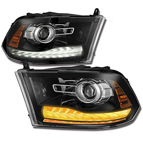 LED DRL Projector Black Headlights [Anti-Fog] 2009-2018 Dodge Ram 1500/2500/3500 (Pair)