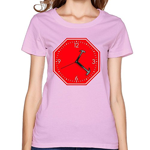 Oyavdsznq Women Stop Hammer Time Sign Clock Slim Walk Pink Tee M Short Sleeve