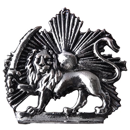 avi Kingdom Shir Khorshid Lion Sun Sword Tie Suit Pin Iran Brooch (Antique Silver) ()