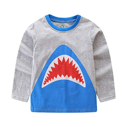 Jchen Little Kids Spring Cartoon Tops, (TM) Kids Baby Girl Boy Cute Cartoon Shark Print Pullover T-Shirt Tee Shirt for 1-7 Y (Age :4-5 Years, Gray) -