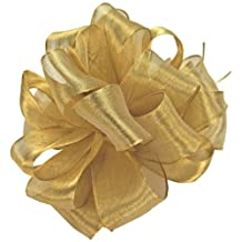 Offray Wired Edge Firefly Metallic Sheer Craft Ribbon, 3-Inch Wide by 15-Yard Spool, Gold
