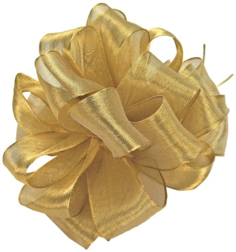 Metallic Ribbon Wired (Offray Wired Edge Firefly Metallic Sheer Craft Ribbon, 3-Inch Wide by 15-Yard Spool, Gold)