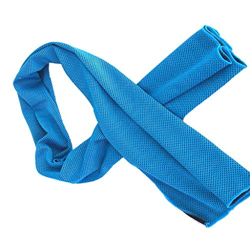Aosce Cool Towel, 40″x12″ Microfiber Cooling Towel for Instant Cooling Relief in Hot Environment, Ice Towel Stay Cool for Sports and Fitness (Green & Blue) 51ApcnOHtfL