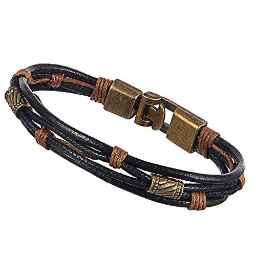 Areke Mens Braided Leather Cuff Bracelets Bangle - Handmade Womens Wrap Wrist Rope Band Jewelry
