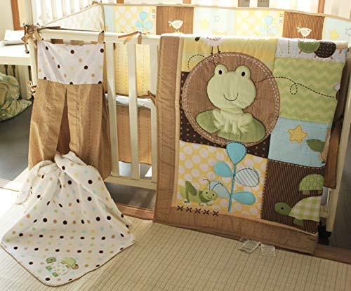(Owl Turtle Bee Ant Frog Nursery Crib Bedding 6 PCs Set Green Baby Bedding Set Comforter+Fitted Sheet+Skirt+Bumper + Diaper Stacker + Blanket Baby Boy Gift)