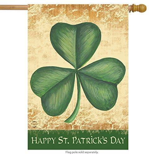 - Briarwood Lane Happy St. Patrick's Day Shamrock House Flag Irish Holiday 28