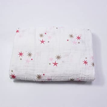 Newin Star Baby Musselin Musselin Swaddle Decke Fur Kinderwagen Buggy Decke Und Baby Bett Reiner Baumwolle Decken Fur Baby Stern Rosa Amazon De Baby