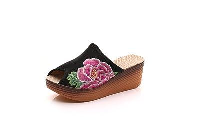 KAFEI Weibliche Stickerei Schuhe Cool Erhöhen Fisch Mund Leinwand Ziehen, Freizeit, Schwarz, 36