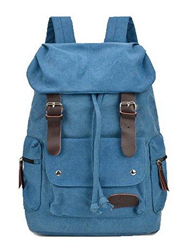 Odomolor Mujeres Viajar Lona Bolsas de mano Cremalleras Bolsas de hombro,ROPBL180957,Marrón Azul