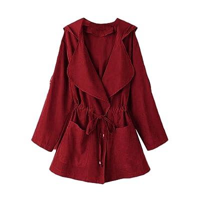 Andopa Detalle de encaje hasta con capucha bolsillos Trench ropa chaqueta de abrigo para Mujeres Vino rojo Pequeño: Ropa y accesorios
