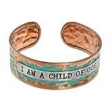 PammyJ I AM A CHILD OF GOD Inspirational Message Bronze tone and Patina Cuff Bracelet