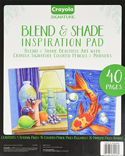 Crayola Blend & Shade Inspiration Pad, Marker & Colored Pencil Art Techniques, Adult Coloring Book, 40 (Blend Pad)