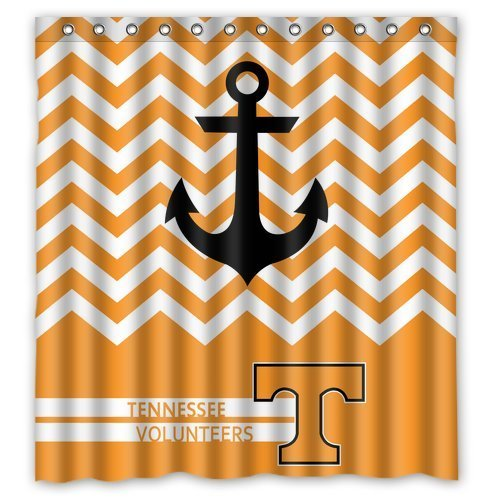 Chevron Anchor NCAA Tennessee Volunteers Polyester Bathroom Waterproof Shower Curtain (Tennessee Vols Drape)