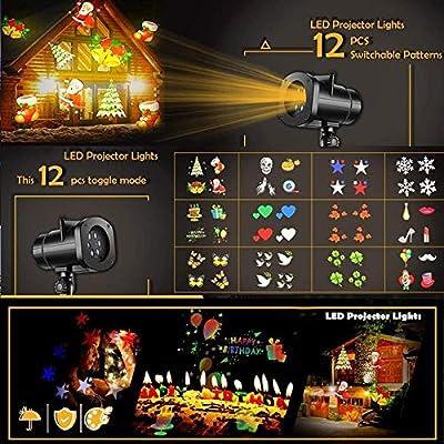 OZZDYH Proyector de Exterior Luces 12 Patrones de la Estrella del ...