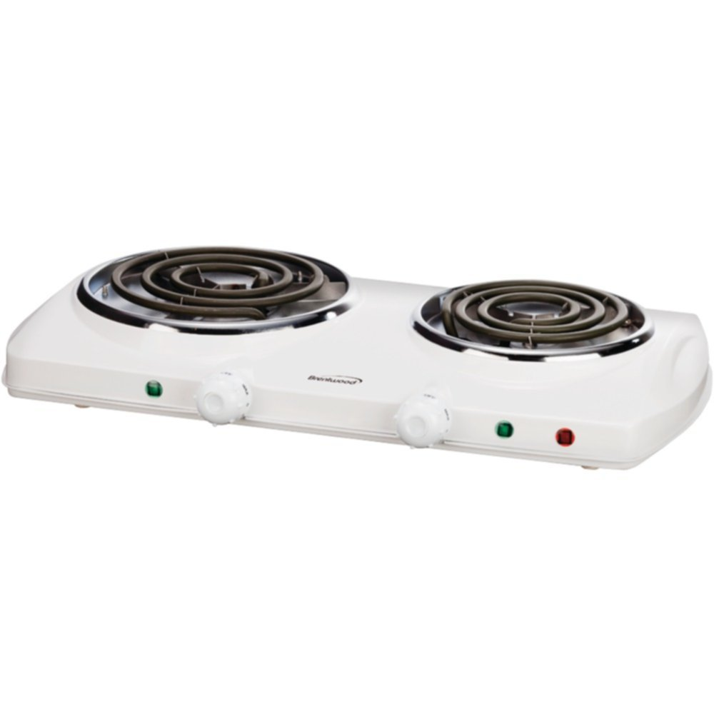 Brentwood Double Burner, White