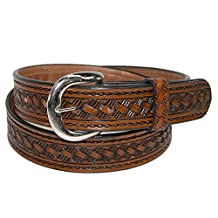 CTM® Men's Leather 1 3/8 Inch Western Belt with Removable Buckle, 32, Brown