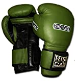 Ring to Cage 20oz, 22oz, 24oz Deluxe MiM-Foam Sparring Gloves - Safety Strap Boxing Training Gloves, for Boxing, MMA, Muay Thai, Kickboxing (24oz, Marine Green/Black)