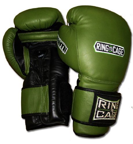 Ring to Cage 20oz, 22oz, 24oz Deluxe MiM-Foam Sparring Gloves - Safety Strap Boxing Training Gloves, for Boxing, MMA, Muay Thai, Kickboxing (16oz, Marine Green/Black) by Ring to Cage