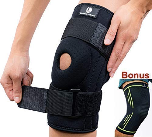 Support-n-Brace Medium Knee Brace + Bonus Compression Knee Sleeve Pads for Men & Women - Wrap Either Knee Pain - Meniscus Tear- Arthritis - ACL/PCL Injuries, Sports Protector & stabilizer