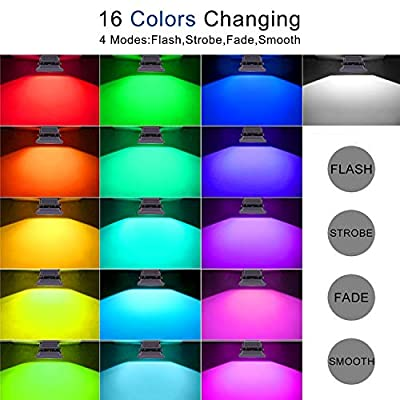RGB LED Flood Lights,Outdoor Color Changing Spotlight with Remote Control,IP65 Waterproof 10W Wall Washer Light,16 Colors 4 Modes Dimmable Landscape Floodlight with US 3-Plug