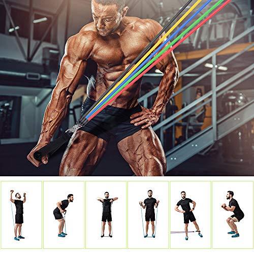 GOAMZ Resistance Bands 12 In 1 Widerstandsband Set, 5 Fitnessbänder Set 150lbs Expander Tubes Bänder Widerstandsbänder mit Griffe, Knöchelriemen, Türanker und Tragetasche, für Home Gym/Yoga/Pilates