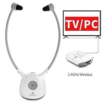 Auriculares inalámbricos de audífono Artiste APH100, para todo tipo de dispositivos de audio (incluye transmisor inalámbrico y 2 baterías recargables): ...