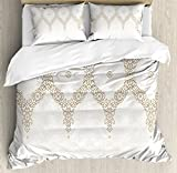 Ambesonne Moroccan Duvet Cover Set King Size, Ornate Background with Traditional Soft Colored Eastern Elements and Pattern, Decorative 3 Piece Bedding Set with 2 Pillow Shams, Cream Beige