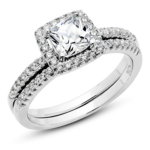925 Sterling Silver Cushion Cubic Zirconia CZ 2Pc Halo Wedding Engagement Ring Set Sz (Tiffany Set 6 Prong)