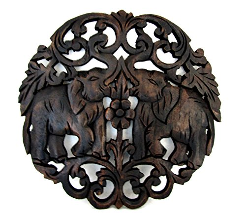 Hand Carved Teak Wood Elephant Wall Plaque Small Round Panel 11 Inch (Round Flower 11