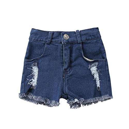 Guogo Little Kids Boys Girls Harem Pants Lovely Hole Denim Bloomers Baby Daytime Shorts (Blue, 0-1 Years)