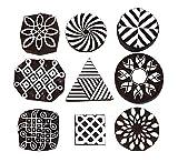 Baren for Block Printing Stamps/Wooden Stamping Block/Handcarved Designer Craft Printing Pattern for Saree Border,Henna Set of 9