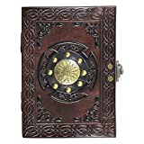 Leather Journal Travel Notebook - Handmade Embossed Spellbook Writing Travelers Diary With Lock - For Men and Women to Write In -Plain Unlined Pages, A5 13 x 18 cm