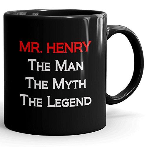 MugMax The Man the Myth the Legend D9 Ceramic Coffee Mug Personlized Mr. Henry Black 11 oz