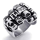 AnaZoz Jewelry Stainless Steel Skeleton Fist Color Bands Cross Black Silvery Fancy Men's Rings Size 12 Fashion Band