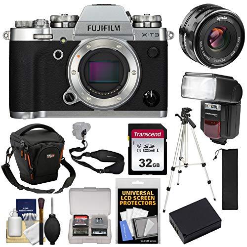 (Fujifilm X-T3 4K Wi-Fi Digital Camera Body (Silver) with 35mm f/1.7 Lens + 32GB Card + Battery + Case + Flash + Tripod +Kit)