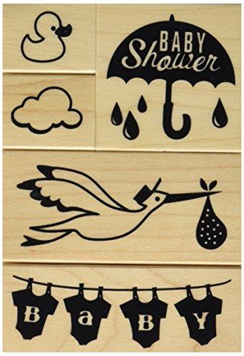 Inkadinkado Baby Shower Mounted Rubber Stamp Set, 5 -
