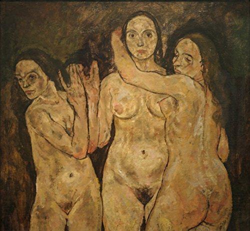 Matte Art Giclee (Egon Schiele - Three Standing Women - Large - Archival Matte - Black Frame Vintage Wall Art Poster Picture Giclee Artwork Modern Contemporary & Fine Art Print)