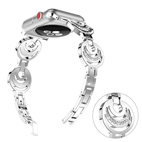 Fashion Women Sun Moon Crescent Crystal Bracelet Band Strap for Apple Watch 1/2/3 42mm (Silver)