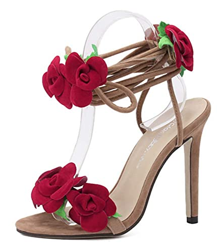 2e3a2825ba YOGLY Escarpins Femme Elegante Sandale Fleur Rose Talon Aiguille Haut Bout  Ouvert Bandage Chaussure Club Soiree: Amazon.fr: Chaussures et Sacs