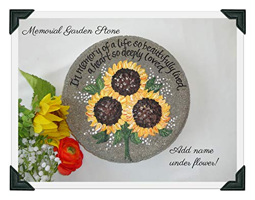 (PERSONALIZED Sunflower Garden Stone, Memorial Stone withpainted Sunflowers)