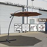 BenefitUSA 10′ Cantilever LED Patio Umbrella 40 LED Light Outdoor Garden Sunshade (Brown) For Sale