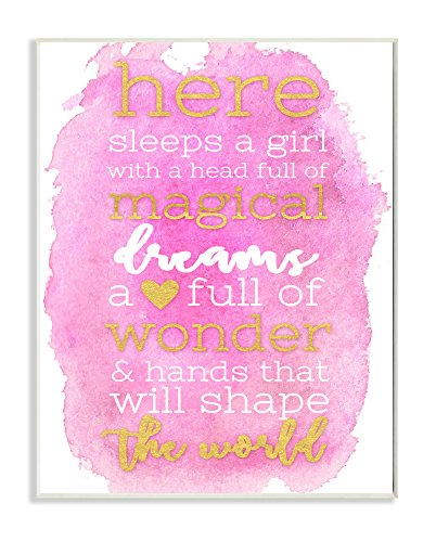 Stupell Home Décor Here Sleeps a Girl Pink and Gold Typography Wall Plaque Art, 10 x 0.5 x 15, Proudly Made in USA