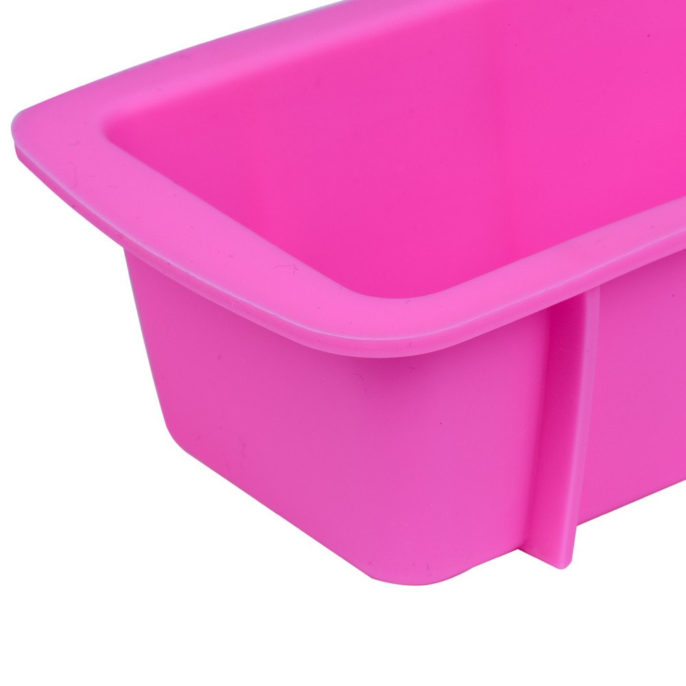 Wffo Silicone Bread Loaf Cake Mold Non Stick Bakeware Baking Pan Oven Rectangle Mould (pink)