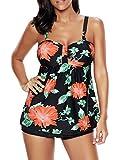 Zando Clearance Women's Flower Printed Blouson Tankini Tops Boyshort Set Slimming Swimsuits Plus Size Swimwear Skirted Swimsuit Black Floral 4XL (US Size 16-18)