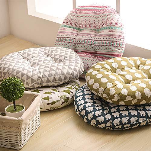 Leisial Coussin Rembourr/é Rond en Coton et Lin Coussin de Chaise /Épais Style Ethnique pour Bureau Jardin Int/érieur Ext/érieur 50cm*11cm(B)