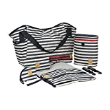 Cheap Lassig Casual Twin Diaper Shoulder Bag with Matching Bottle Holder, Baby Changing Mat/Pad and Stroller Hooks, Striped Zigzag Navy